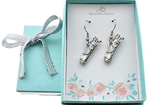Golf bag earrings in antique silver pewter. Golf earrings. Golf gifts. Golf women. Golf jewelry.