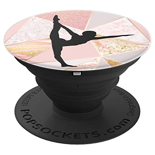Gymnastic Girl Rose Gold Marble Elegant Black Silhouette - PopSockets Grip and Stand for Phones and Tablets