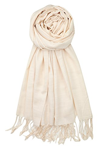 Rayon Cream - Achillea Bamboo Rayon Feel Soft Silky Pashmina Solid Shawl Wrap Scarf (Cream)