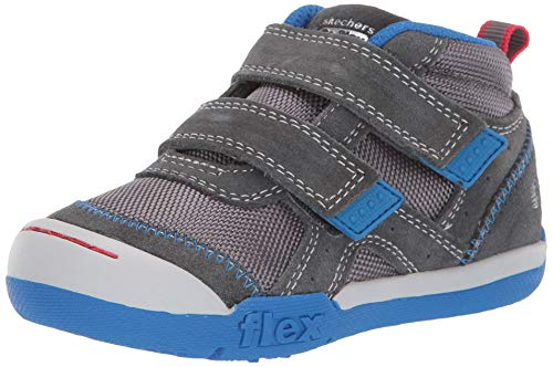 Skechers Kids Boys' Flex Play-MID Dash Sneaker Charcoal/Royal 6 Medium US Toddler