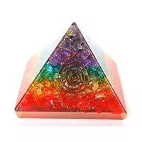 Healing Crystals India Designer & Multi Chakra Orgone Orgonite Pyramid, Orgone Energy Generator Engraved Beautifully Pyramid (Chakara Orgone 40-55mm)