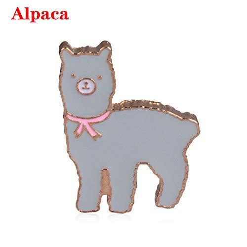 Alpaca Cat Enamel Pin Toast Cactus Brooch Lapel Shirt Cartoon Jewelry Gift New (Pattern - Alpaca)