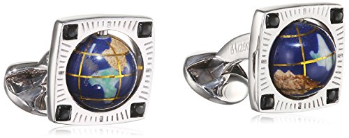 Tateossian Silver Black Agate Lapis Blue Collection Globe XXV Anniversary Limited Cuff Link