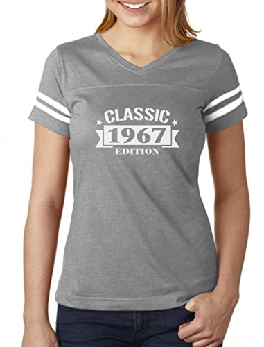 Classic 1967 Edition Funny 50th Birthday Women Football Jersey T-Shirt Large Gray/White -
