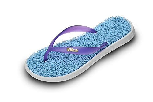 Lookat Women Sandals Massage Slippers Foot Scrub Exfoliating Stress Relief- with Sole (7/8, Baby Blue)