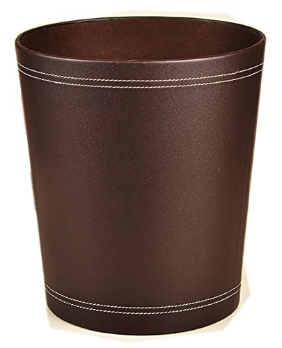 (Floor Stand Leather Waste bin Paper Board Trash can 12 Liters Garbage Basket case for Hotel Office (Coffee))