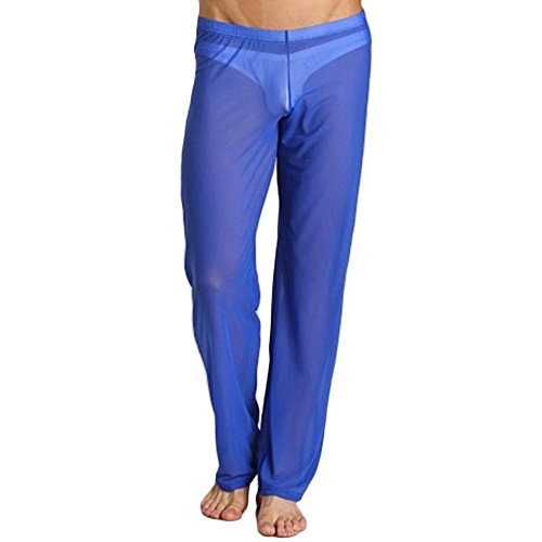 New Mens Sexy Bodysuit - BlueSpace Men's Pajamas Mesh Translucent Low Rise Pants Lightweight Lounge Pant Blue L