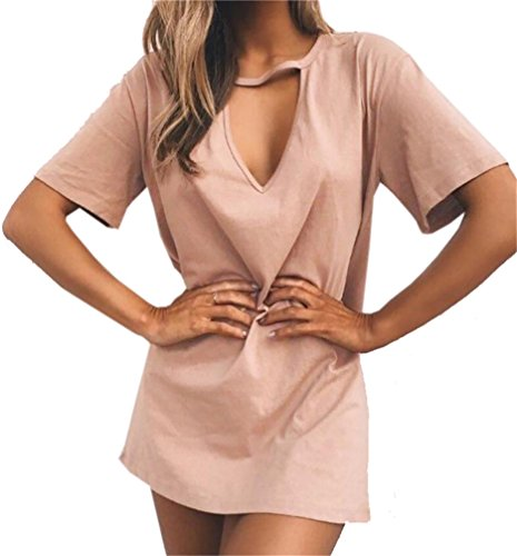 Deep Club Domple Dress Sexy Womens Neck V Pink Mini Loose T Short Shirt Sleeve q81wE8