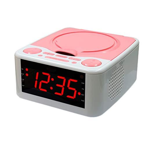 YC electronics Home Audio Mini Music CD Player Home Mp3 Player Radio Alarm Clock Prenatal Machine USB/AUX with Remote Control Portable Players (Color : Pink) (Best Portable Cd Player With Dab Radio)