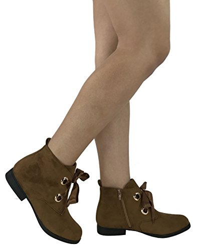 Flat 5 bronceado Heel Lace Steven Ribbons Tan Suede 5 Faux Ella Fashion Bootie Women Up 's Ankle SZfp1Pqw
