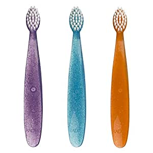 RADIUS Totz Toothbrush for 18 Months +, Extra Soft Bristles, Assorted Colors, Colors May Vary, 3 Count
