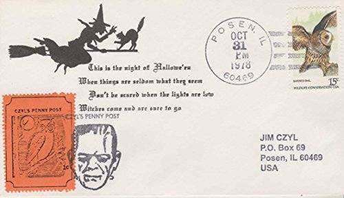 1978 Halloween Issue Owl And Frankenstein CZYL'S Penny Post Local Post Cover Envelope -
