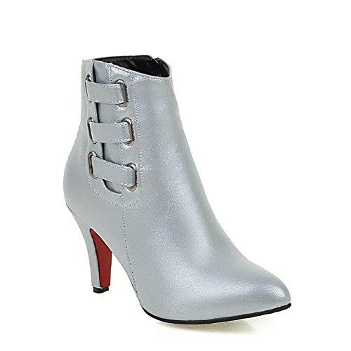 AgooLar Damen Niedrig-Spitze Reißverschluss Weiches Material Hoher Absatz Spitz Zehe Stiefel, Silber, 36