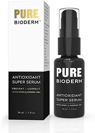 Antioxidant Super Serum - Dermatologist Developed Anti Aging Serum w/Vitamin C, Phloretin, Ferulic Acid & Peptides to Correct Premature Signs of Aging and Protect Skin from Environmental Toxins. 1 oz
