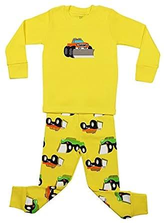 "Elowel Boys Yellow ""Truck"" 2 Piece Pajama Set 100% Cotton - 2 Toddler"
