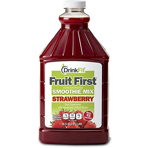 DrinkFit Blender Smoothie Mix - Concentrated Real Fruit Puree - Low Calorie Stevia - Vegan Kosher, Gluten Soy Lactose Fat Free - 64 oz Bottle (Strawberry)