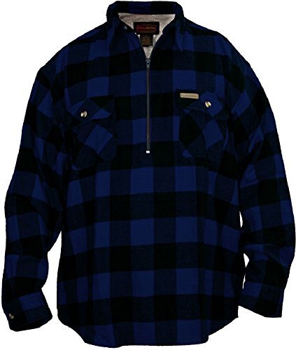 HSC BUFFALO FLANNEL PLAID 1/2 ZIP SHIRT JAC BLUE/B