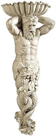 Design Toscano Atlantes, God of The Sea Wall Sculpture, Antique Stone