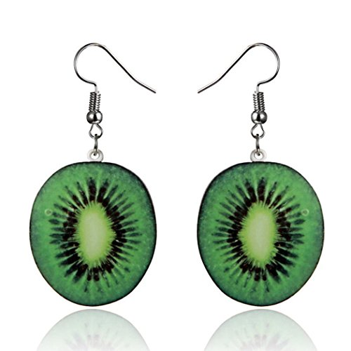 HIRIRI Women Creative Fruit Earring Strawberry Pineapple Watermelon Kiwi Pitaya Orange Ear Drop Dangle Hook Earrings Jewelry Gift (Kiwi) (Gold Strawberry Charm Diamond)