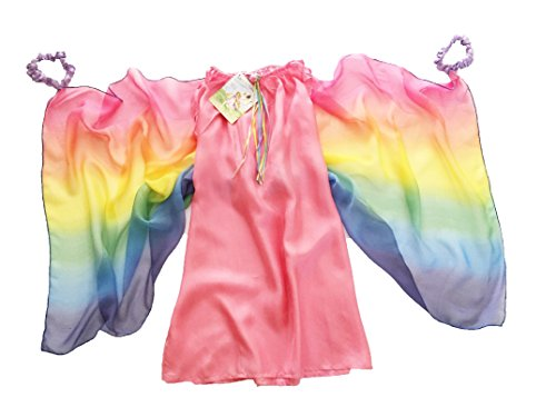Sarah's Silks Fairy Dress in Pink with Rainbow Wings (Fairy Pink Wings Silks)