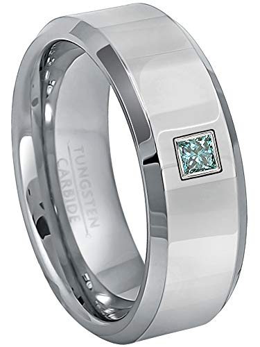 0.10ctw Solitaire Princess Cut Blue Diamond Tungsten Ring - 8MM Polished Finish Beveled Edge Tungsten Carbide Wedding Band - April Birthstone Ring - s12 ()