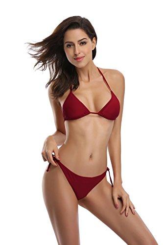 SHEKINI Women's Tie Side Bottom Push up Padded Top Triangle Bikini Bathing Suit (X-Large, Wine red)
