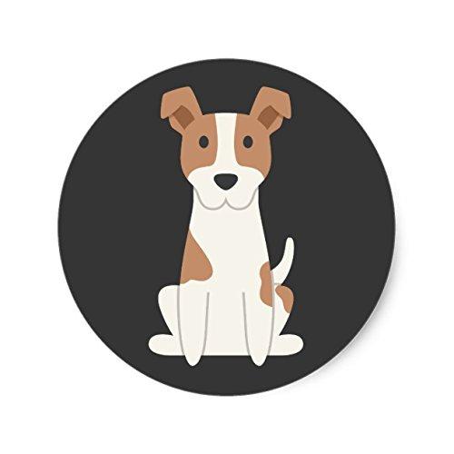 Jack Russell Terrier Illustration Classic Round Sticker - Sticker Graphic - Beware of Dog Lover Sticker Sign for Walls Windows Bumper Sticker Dog Sign Dog Lover ()