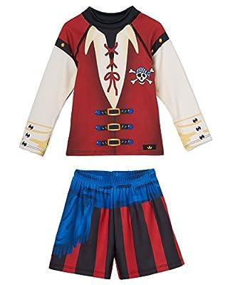 Little Boys Swim Trunks and Swimsuit Set – Adorable Pirate Costume Design– Long Sleeve Rashguard Set – UPF 50 Sun Protection – Won't Fade – Made In USA – Size 2T, 3T, 4T, 5/6, 7/8