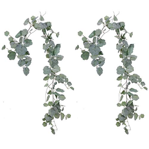 Begonia Leaves - Meiliy 2pcs Artificial Greenery Eucalyptus Garland Faux Begonia Leaves Vines for Home Table Runner Wedding Decor