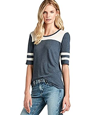 Women's - Varsity Striped Elbow Sleeve Football Tee