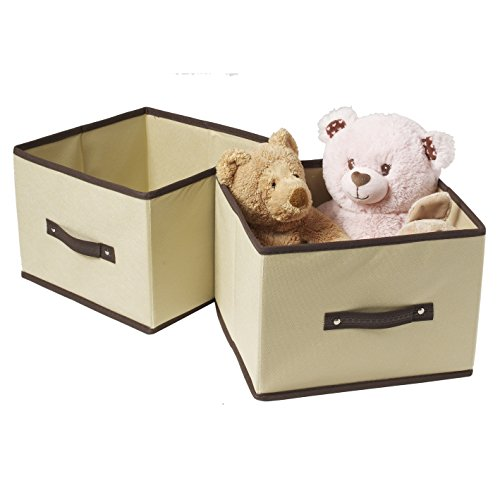 Ziz Home Foldable Fabric Storage Shelves and Cube Organizer (Set of 2 Cubes) - Anti Mold Closet Packaging Containers for Nursery/ Home/ Office - Ideal for Storing Anything!