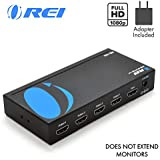 4K 1x4 HDMI Splitter 1 in 4 Out by OREI - 4K@30 Hz, Powered HDMI Supports 3D Full HD 1080P for Xbox, PS4 PS3 Fire Stick Apple TV HDTV - Adapter Included (HD-104),Black