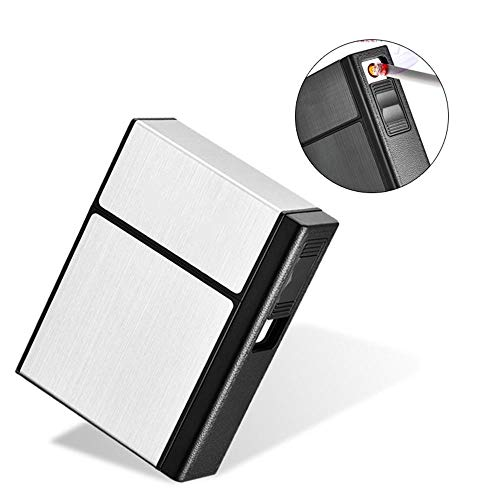 AUOKER Cigarette Case Box with Electric Lighter, King Size 20PCS Metal USB Separable Rechargeable for Whole Package Cigarettes, Flameless Windproof with USB Cable ()