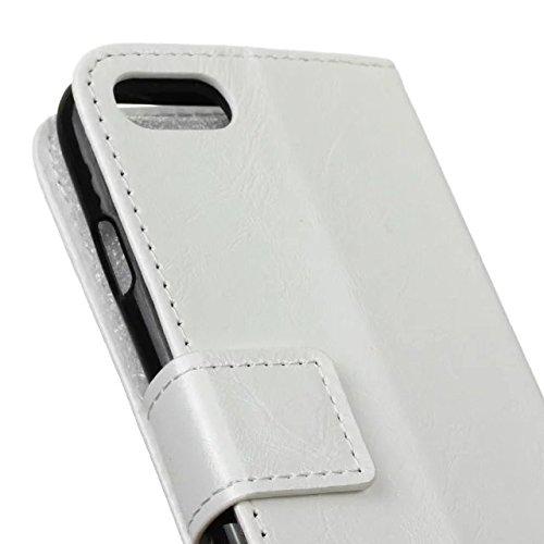 Solid Color Crazy Cheval Texture Pattern Cuir Housse de protection Housse Horizontal Flip Stand Wallet Case Avec Slots de carte pour IPhone 7 ( Color : White )