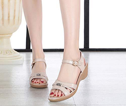 Confort Femme Talon Aisun Beige Maman Strass Compensé Chaussures Pour Sandales P5awFwq