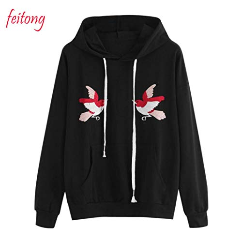 Clearance Sale! Women Birds Embroidery Long Sleeve Hoodie Sweatshirt Daoroka Ladies O Neck Animal Pocket Drawstring Jumper Pullover Hooded Tops Fashion Autumn Winter Warm Blouse