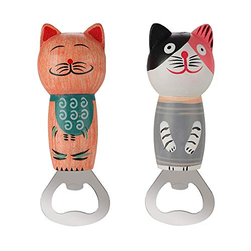 Bottle Opener Stainless Steel Beer Botter Opener Cute Wooden Cats Opener with Magnet 2pcs