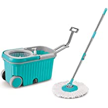 Topmop Stainless Steel Easy Wring Spin Mop and Bucket System With Wheels,More Solid ! More Convenient !