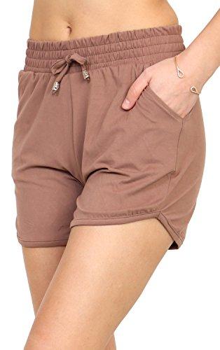 Brown Casual Shorts - Printed Brushed Casual Summer Shorts (Mocha, Small/Medium)