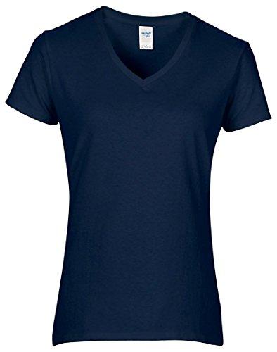Gildan Mujer Algodón Premium camiseta de cuello de pico azul marino