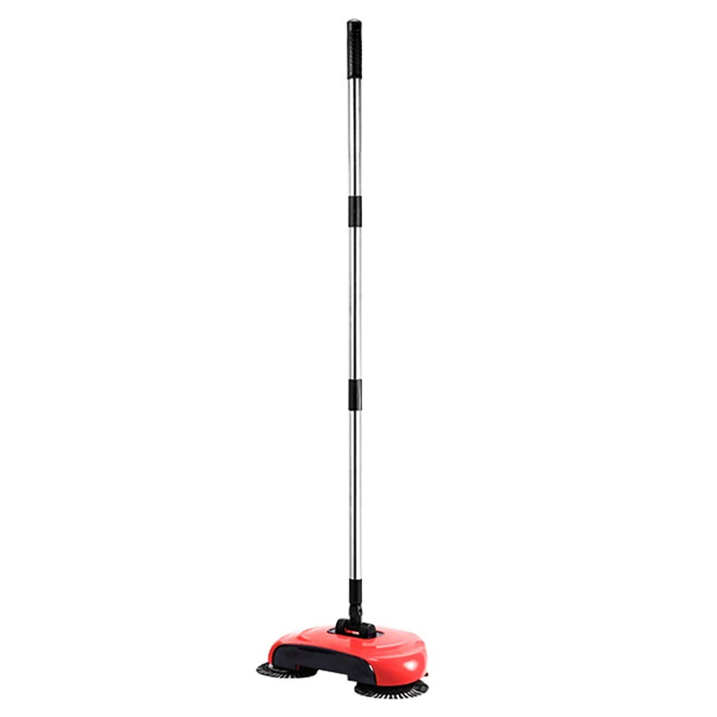 Gunel Lazy 3 in 1 Household Cleaning Hand Push Automatic Sweeper Broom – Including Broom & Dustpan & Trash Bin – Cleaner Without Electricity Environmental (Red)