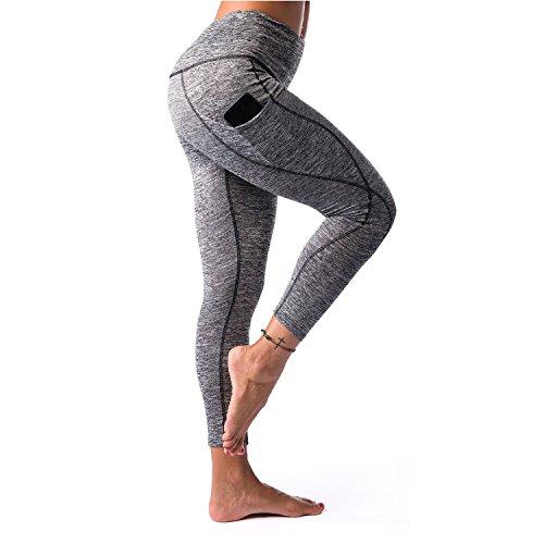 Flex Workout Pant - K&T Women's Yoga Pants, Power Flex High Waist Tummy Control Workout Yoga Capri Leggings with Out Pockets(Large, Grey)