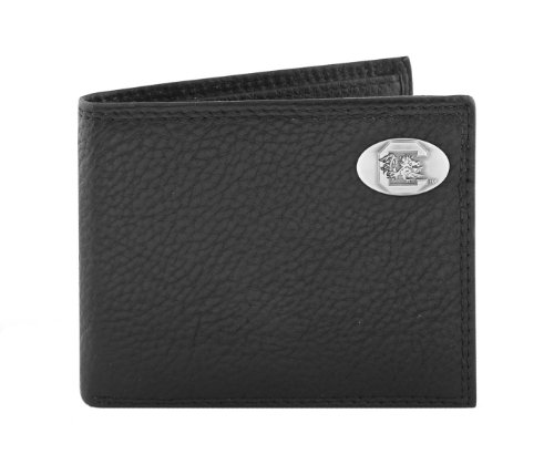 South Carolina Black Leather - NCAA South Carolina Fighting Gamecocks Black Pebble Grain Leather Bifold Concho Wallet, One Size
