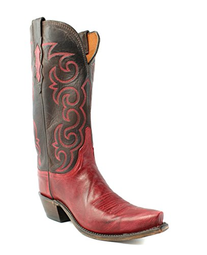 Lucchese N4722.S54 Dana Womens Red Burnished Goat Leather Cowboy Western Boots Burnished Mad Dog Goat