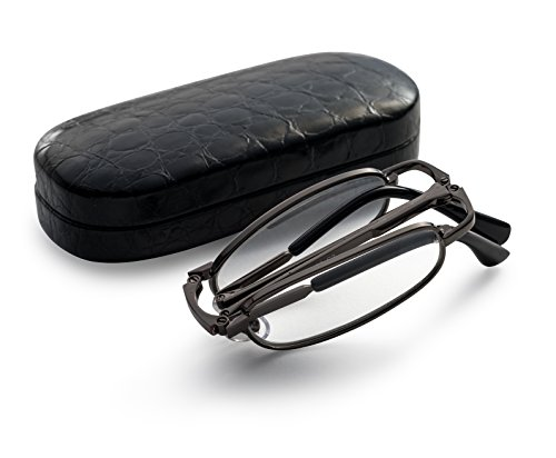 Gunmetal Folding Reading Glasses - Extra Clear Vision (Includes - Case, Cleaning Cloth and Cord) - Fold That Sunglasses
