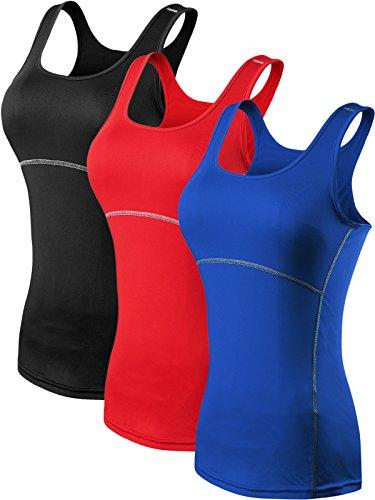 Neleus Mujeres Camisetas Deportivas Sin Mangas de 3 Unidades 11# 3 Unidades: Negro, Azul, Rojo