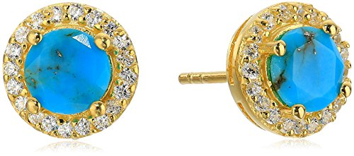 (Gold Plated Sterling Silver Round Turquoise with Cubic Zirconia Accent Stud Earrings)