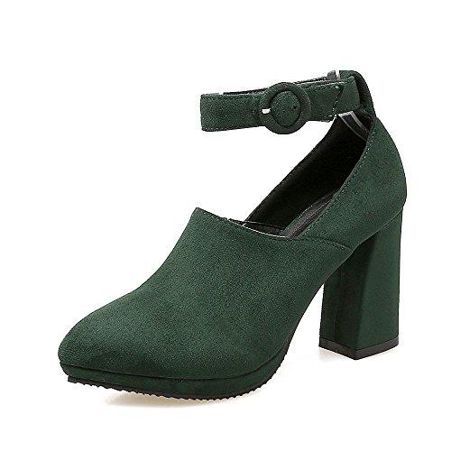 GJDE Moda Zapatos con Tacon Alto Para Mujer Plataforma Hebilla del Cinturón de Gamuza Zapatos de Tacón alto con Gruesa Army Green