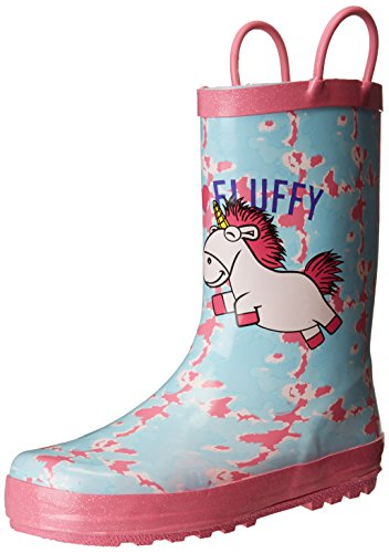 Despicable Me Girls' Kid's Minions Licensed Rain Boots, Blue/Pink, Dual Shoe Size 2/3 Child US Little -