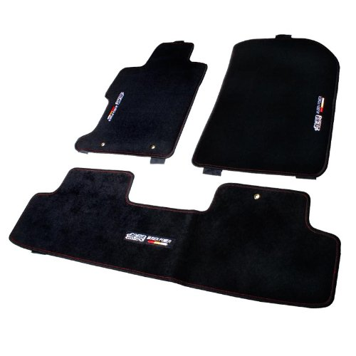 2006-2011 Honda Civic 4 Door Sedan Mugen Logo Black Floor Mats with Red Stitch (Black Carpet Sedan 4 Door)